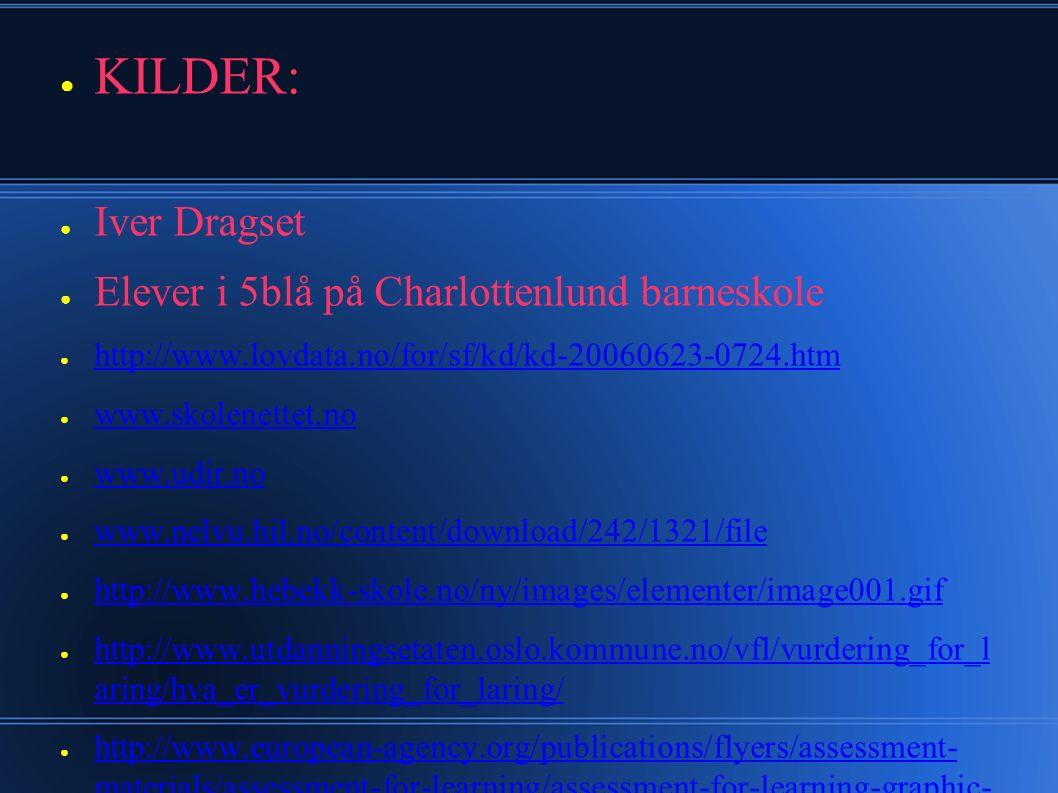 ● KILDER: ● Iver Dragset ● Elever i 5blå på Charlottenlund barneskole ● http://www.lovdata.no/for/sf/kd/kd-20060623-0724.htm http://www.lovdata.no/for