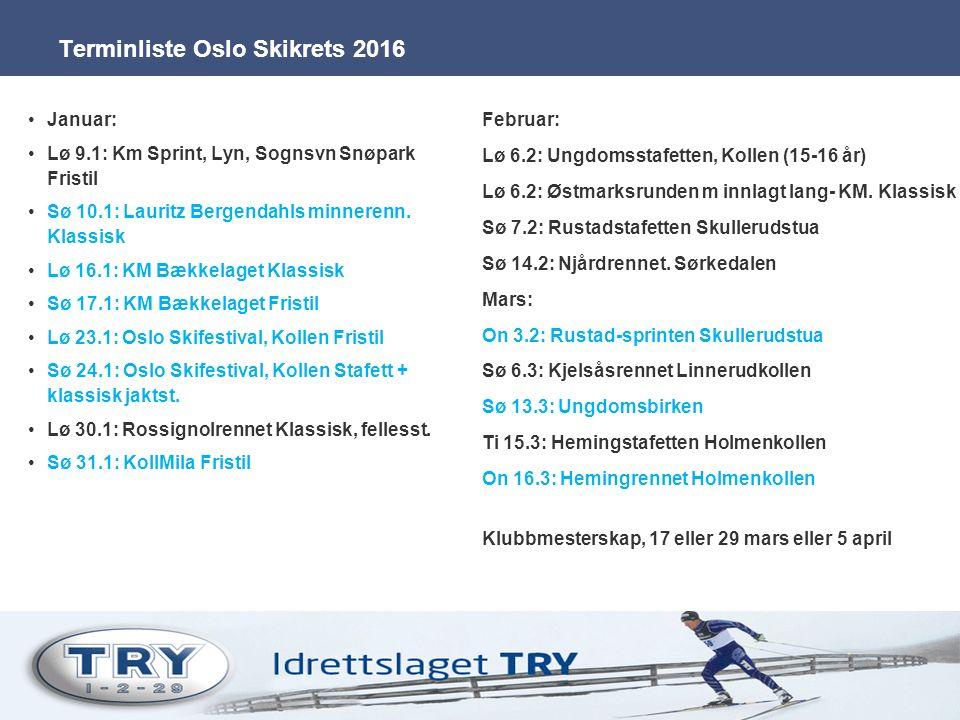 Terminliste Oslo Skikrets 2016 Januar: Lø 9.1: Km Sprint, Lyn, Sognsvn Snøpark Fristil Sø 10.1: Lauritz Bergendahls minnerenn. Klassisk Lø 16.1: KM Bæ