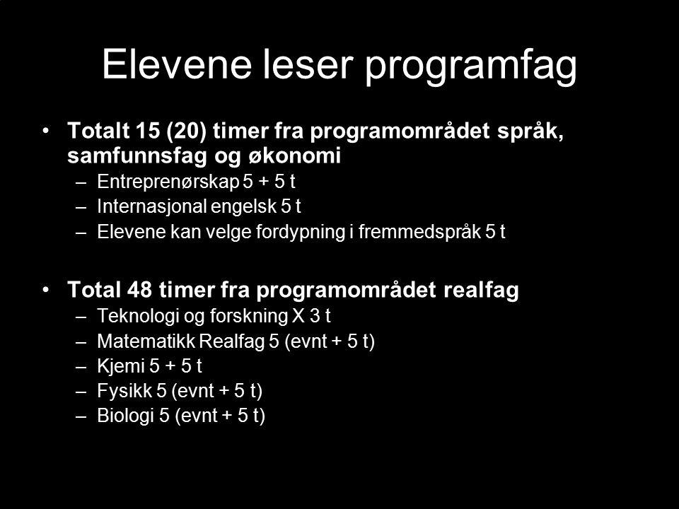 Elevene leser programfag Totalt 15 (20) timer fra programområdet språk, samfunnsfag og økonomi –Entreprenørskap 5 + 5 t –Internasjonal engelsk 5 t –Elevene kan velge fordypning i fremmedspråk 5 t Total 48 timer fra programområdet realfag –Teknologi og forskning X 3 t –Matematikk Realfag 5 (evnt + 5 t) –Kjemi 5 + 5 t –Fysikk 5 (evnt + 5 t) –Biologi 5 (evnt + 5 t)