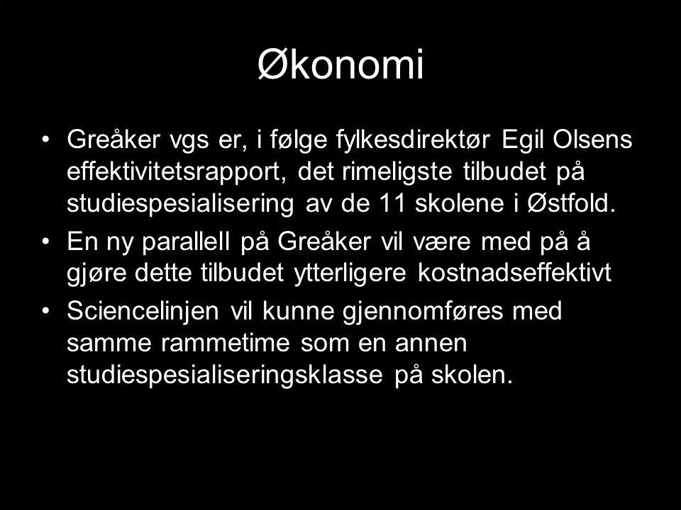 Økonomi Greåker vgs er, i følge fylkesdirektør Egil Olsens effektivitetsrapport, det rimeligste tilbudet på studiespesialisering av de 11 skolene i Østfold.