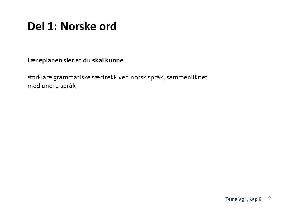 Del 1: Norske ord Læreplanen sier at du skal kunne forklare grammatiske særtrekk ved norsk språk, sammenliknet med andre språk 2 Tema Vg1, kap 9