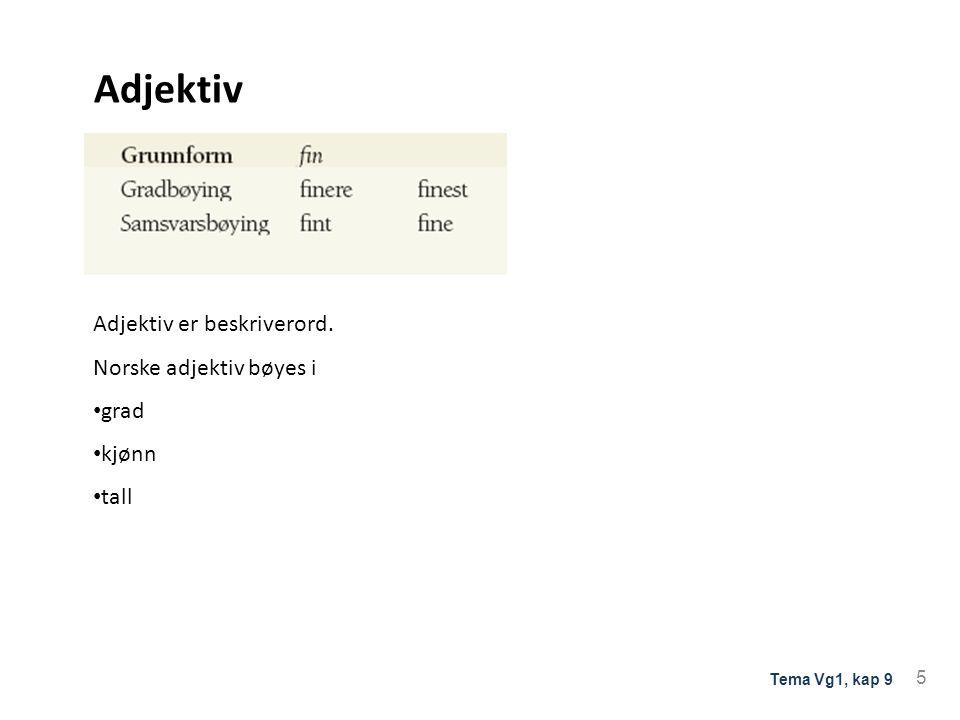 Adjektiv Adjektiv er beskriverord. Norske adjektiv bøyes i grad kjønn tall 5 Tema Vg1, kap 9
