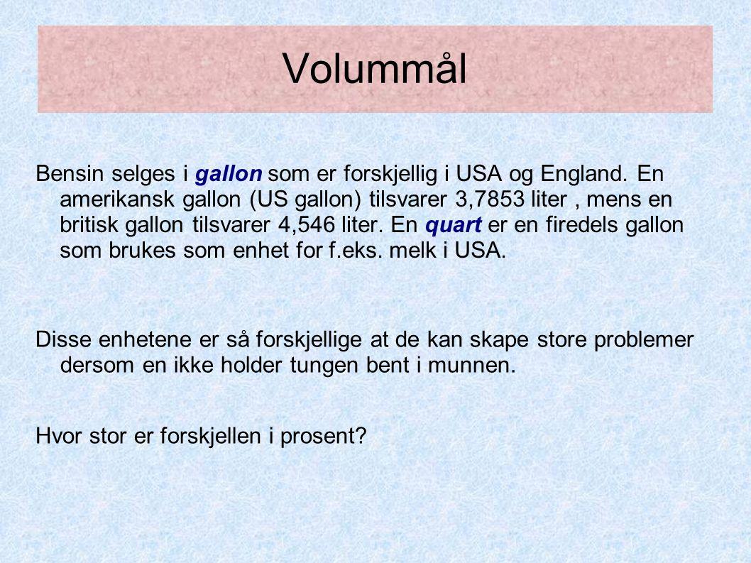 Volummål Bensin selges i gallon som er forskjellig i USA og England. En amerikansk gallon (US gallon) tilsvarer 3,7853 liter, mens en britisk gallon t