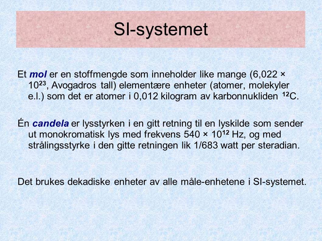 SI-systemet Et mol er en stoffmengde som inneholder like mange (6,022 × 10 23, Avogadros tall) elementære enheter (atomer, molekyler e.l.) som det er atomer i 0,012 kilogram av karbonnukliden 12 C.