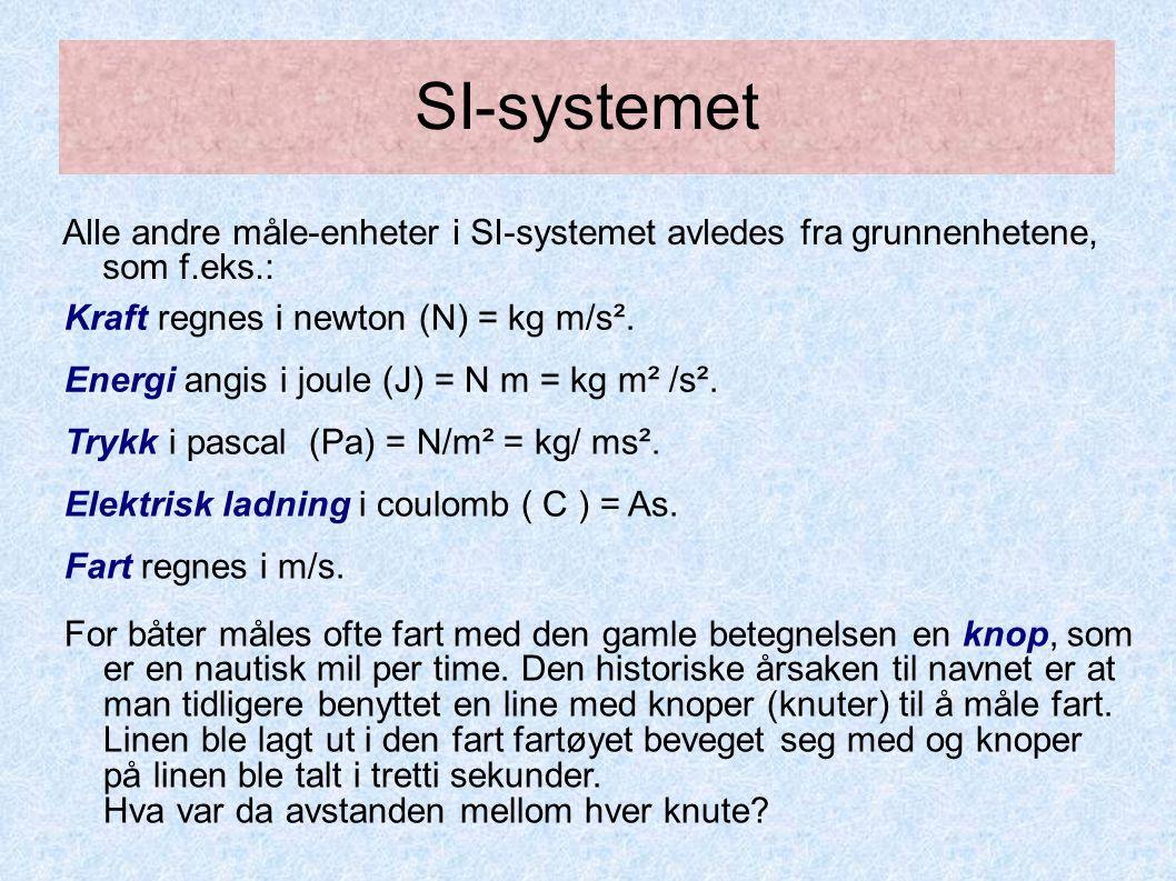 SI-systemet Alle andre måle-enheter i SI-systemet avledes fra grunnenhetene, som f.eks.: For båter måles ofte fart med den gamle betegnelsen en knop, som er en nautisk mil per time.