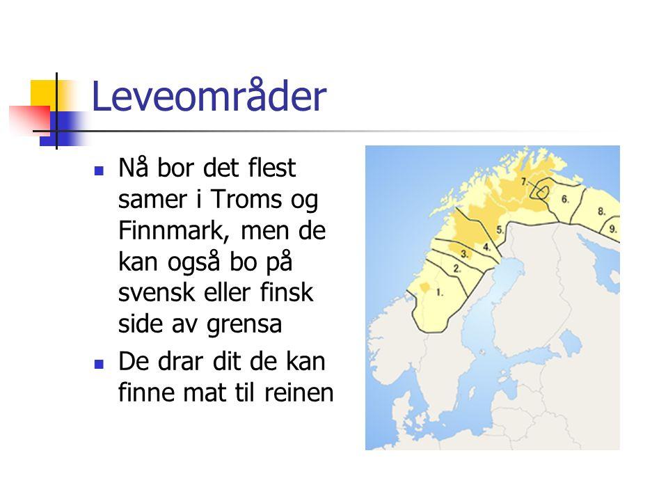 Leveområder Nå bor det flest samer i Troms og Finnmark, men de kan også bo på svensk eller finsk side av grensa De drar dit de kan finne mat til reine