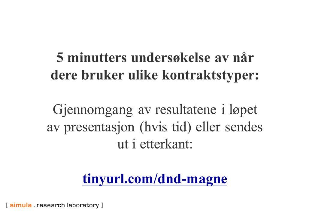 5 minutters undersøkelse av når dere bruker ulike kontraktstyper: Gjennomgang av resultatene i løpet av presentasjon (hvis tid) eller sendes ut i etterkant: tinyurl.com/dnd-magne