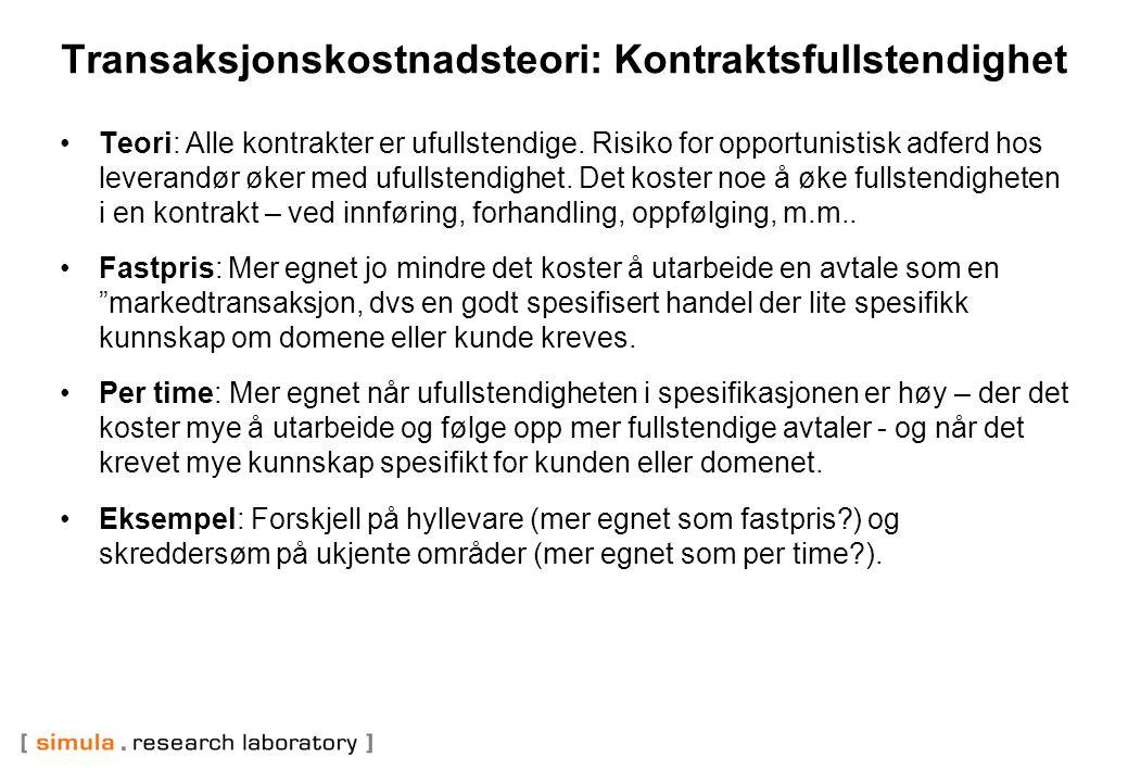 Kontrakttype og suksessrate: Norsk undersøkelse (noen anga mer enn en type kontrakt) Per time Smidig RisikodelingFastpris Nytte59%29%22%0% Kvalitet24%43%22% Budsjett31%71%22%33% Tid29%43%44%11% Effektivitet19%29%33%0% Andel37%14%41%18% Kategoriserte smidig som per time og risikodeling som fastpris.