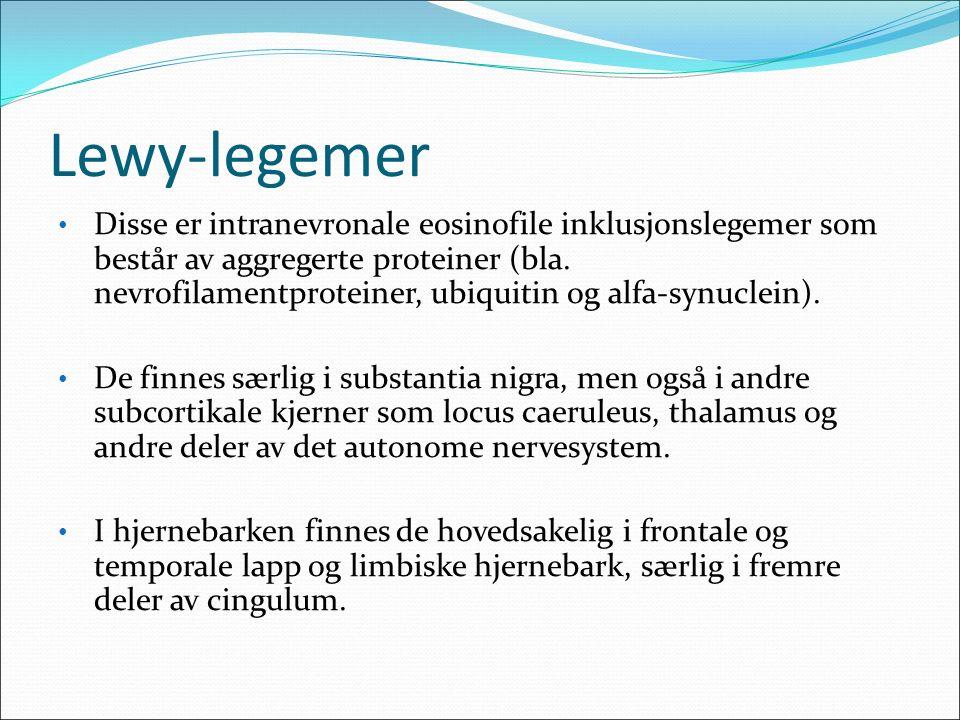 Lewy-legemer Disse er intranevronale eosinofile inklusjonslegemer som består av aggregerte proteiner (bla.