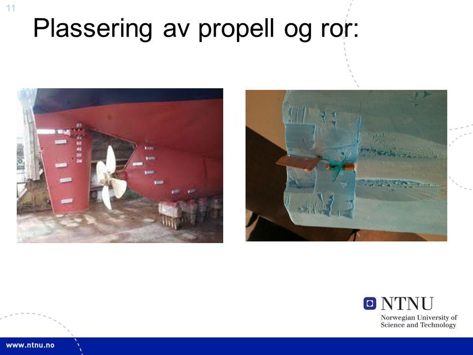 11 Plassering av propell og ror: