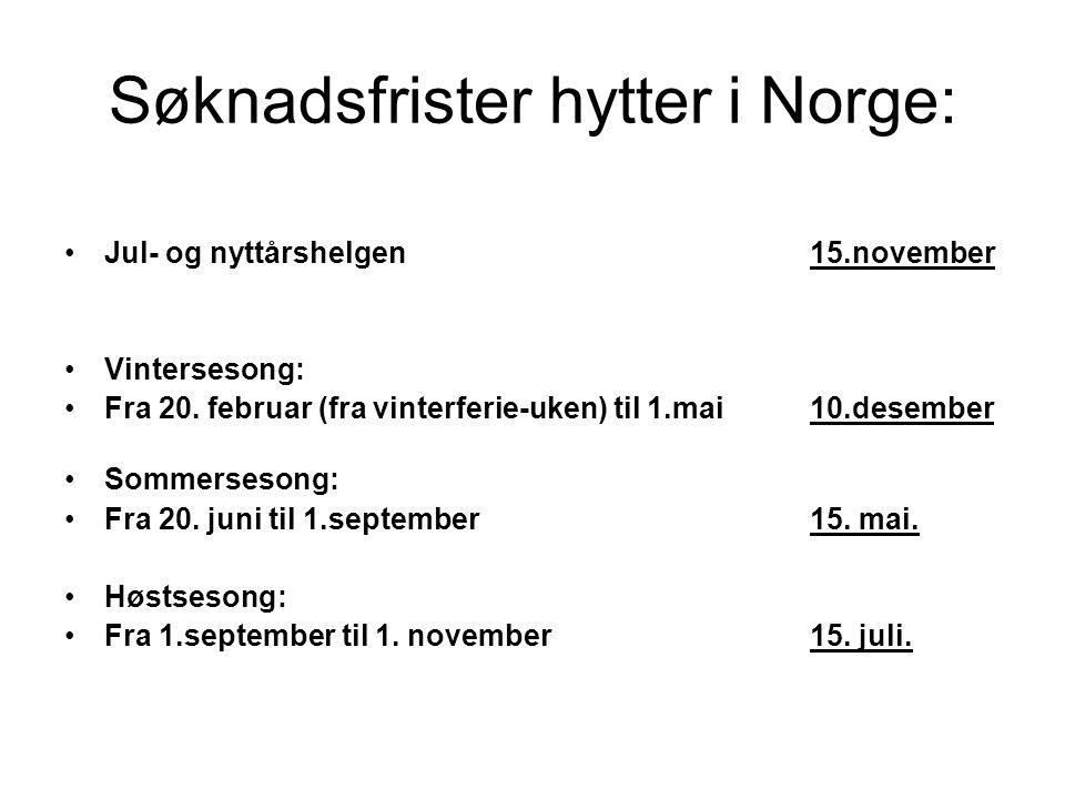 Søknadsfrister hytter i Norge: Jul- og nyttårshelgen 15.november Vintersesong: Fra 20. februar (fra vinterferie-uken) til 1.mai10.desember Sommerseson