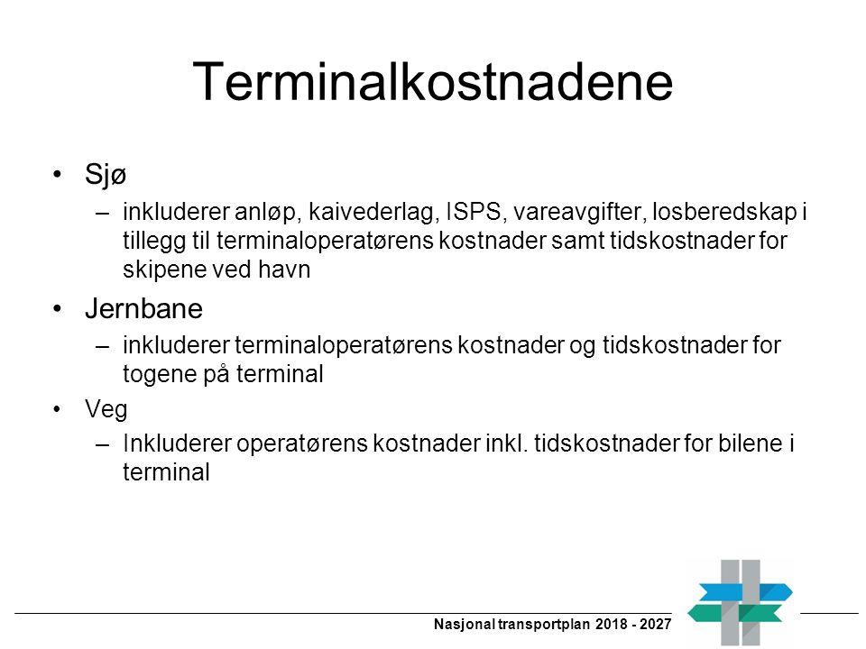 Nasjonal transportplan 2018 - 2027 Terminalkostnadene Sjø –inkluderer anløp, kaivederlag, ISPS, vareavgifter, losberedskap i tillegg til terminaloperatørens kostnader samt tidskostnader for skipene ved havn Jernbane –inkluderer terminaloperatørens kostnader og tidskostnader for togene på terminal Veg –Inkluderer operatørens kostnader inkl.
