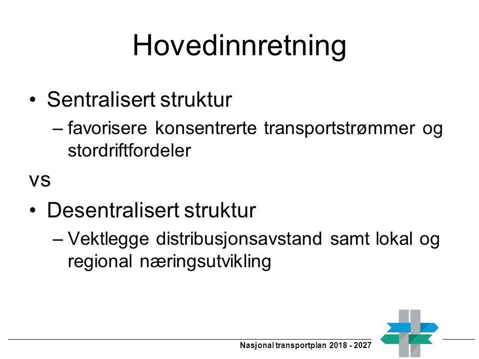 Nasjonal transportplan 2018 - 2027 Hovedinnretning Sentralisert struktur –favorisere konsentrerte transportstrømmer og stordriftfordeler vs Desentralisert struktur –Vektlegge distribusjonsavstand samt lokal og regional næringsutvikling