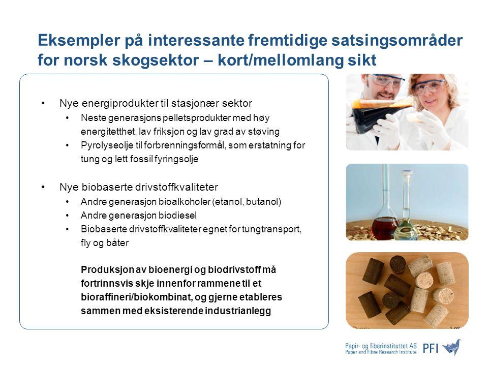 Eksempler på interessante fremtidige satsingsområder for norsk skogsektor – kort/mellomlang sikt Nye energiprodukter til stasjonær sektor Neste generasjons pelletsprodukter med høy energitetthet, lav friksjon og lav grad av støving Pyrolyseolje til forbrenningsformål, som erstatning for tung og lett fossil fyringsolje Nye biobaserte drivstoffkvaliteter Andre generasjon bioalkoholer (etanol, butanol) Andre generasjon biodiesel Biobaserte drivstoffkvaliteter egnet for tungtransport, fly og båter Produksjon av bioenergi og biodrivstoff må fortrinnsvis skje innenfor rammene til et bioraffineri/biokombinat, og gjerne etableres sammen med eksisterende industrianlegg