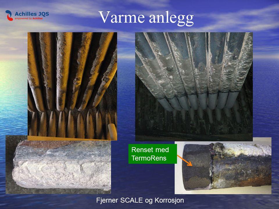Varme anlegg Fjerner SCALE og Korrosjon Renset med TermoRens