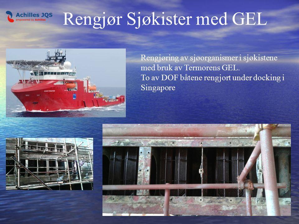 Rengjør Sjøkister med GEL Rengjøring av sjøorganismer i sjøkistene med bruk av Termorens GEL.