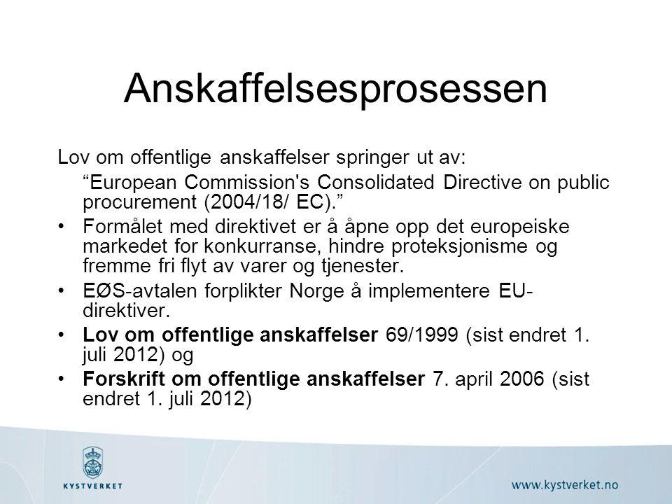 Anskaffelsesprosessen Lov om offentlige anskaffelser springer ut av: European Commission s Consolidated Directive on public procurement (2004/18/ EC). Formålet med direktivet er å åpne opp det europeiske markedet for konkurranse, hindre proteksjonisme og fremme fri flyt av varer og tjenester.