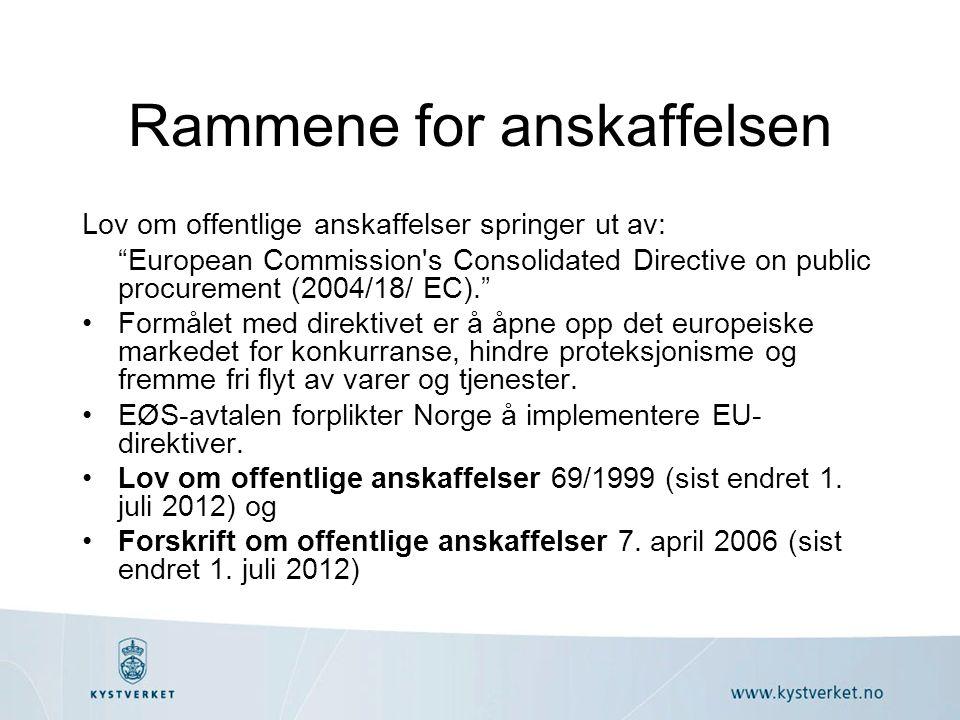 Rammene for anskaffelsen Lov om offentlige anskaffelser springer ut av: European Commission s Consolidated Directive on public procurement (2004/18/ EC). Formålet med direktivet er å åpne opp det europeiske markedet for konkurranse, hindre proteksjonisme og fremme fri flyt av varer og tjenester.