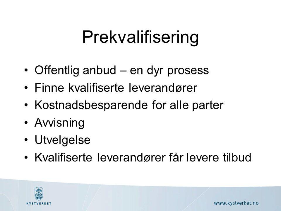 Prekvalifisering Offentlig anbud – en dyr prosess Finne kvalifiserte leverandører Kostnadsbesparende for alle parter Avvisning Utvelgelse Kvalifiserte leverandører får levere tilbud