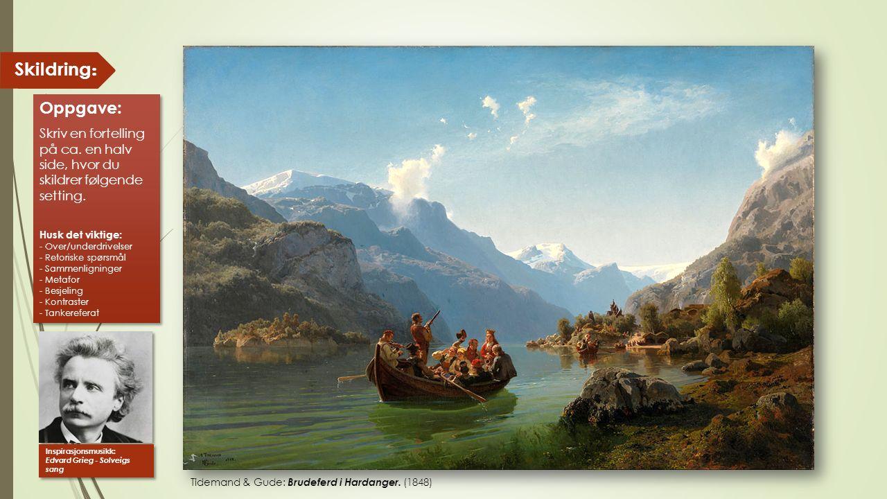 Tidemand & Gude: Brudeferd i Hardanger. (1848) Skildring : Oppgave: Skriv en fortelling på ca. en halv side, hvor du skildrer følgende setting. Husk d