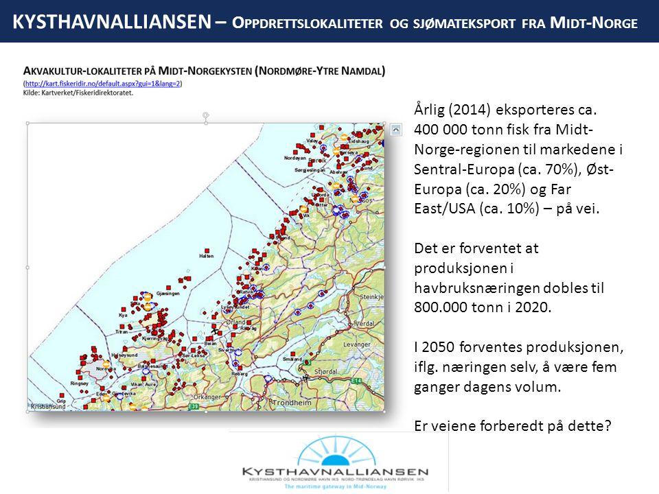 KYSTHAVNALLIANSEN – O PPDRETTSLOKALITETER OG SJØMATEKSPORT FRA M IDT -N ORGE HITRA KYSTHAVN DAGENS LO/LO- OG RO/RO-LØSNING FERGELEIE, BEREDSKAP HURTIGBÅT- TERMINAL Årlig (2014) eksporteres ca.