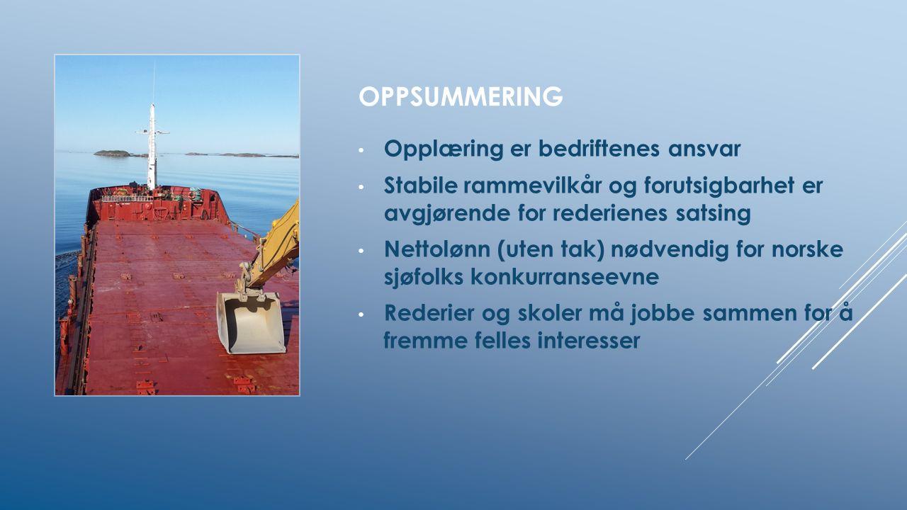 OPPSUMMERING Opplæring er bedriftenes ansvar Stabile rammevilkår og forutsigbarhet er avgjørende for rederienes satsing Nettolønn (uten tak) nødvendig for norske sjøfolks konkurranseevne Rederier og skoler må jobbe sammen for å fremme felles interesser