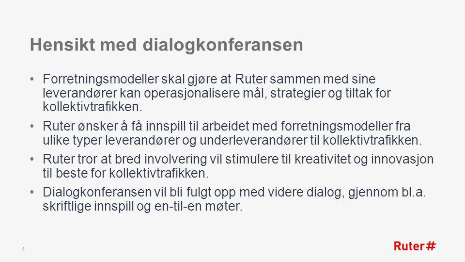 Hensikt med dialogkonferansen Forretningsmodeller skal gjøre at Ruter sammen med sine leverandører kan operasjonalisere mål, strategier og tiltak for