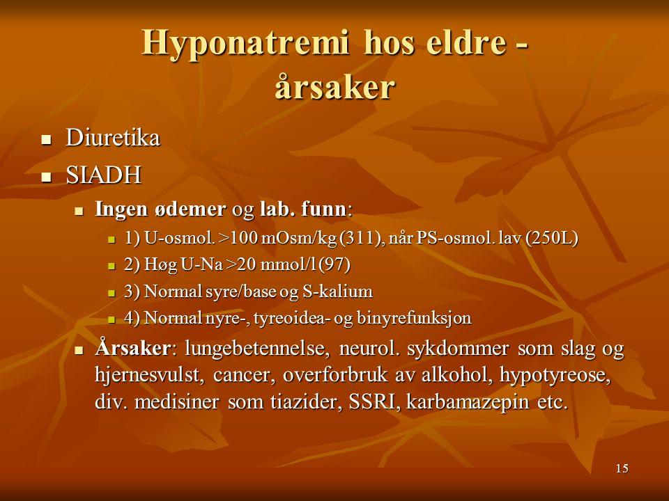 15 Hyponatremi hos eldre - årsaker Diuretika Diuretika SIADH SIADH Ingen ødemer og lab.
