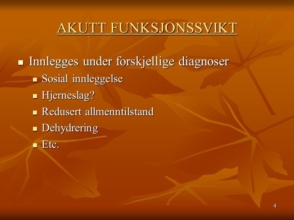 4 AKUTT FUNKSJONSSVIKT Innlegges under forskjellige diagnoser Innlegges under forskjellige diagnoser Sosial innleggelse Sosial innleggelse Hjerneslag.