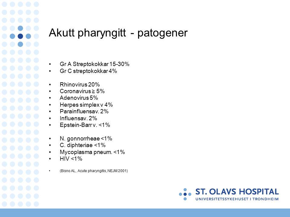 Akutt pharyngitt - patogener Gr A Streptokokkar 15-30% Gr C streptokokkar 4% Rhinovirus 20% Coronavirus ≥ 5% Adenovirus 5% Herpes simplex v 4% Parainfluensav.