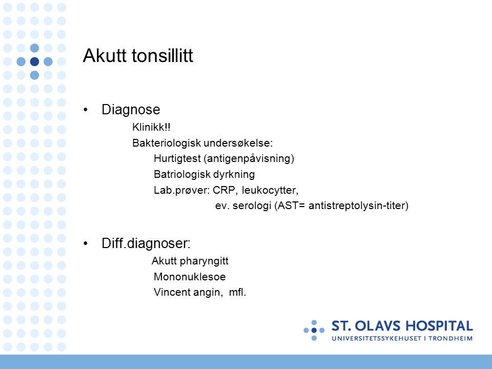 Akutt tonsillitt Diagnose Klinikk!.