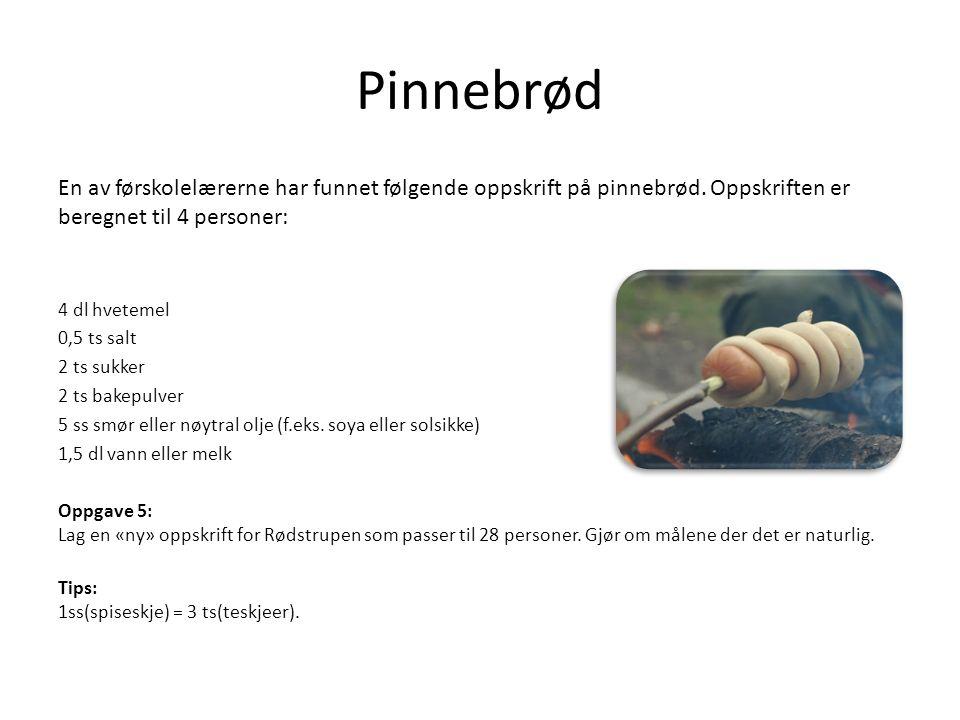 Pinnebrød En av førskolelærerne har funnet følgende oppskrift på pinnebrød.