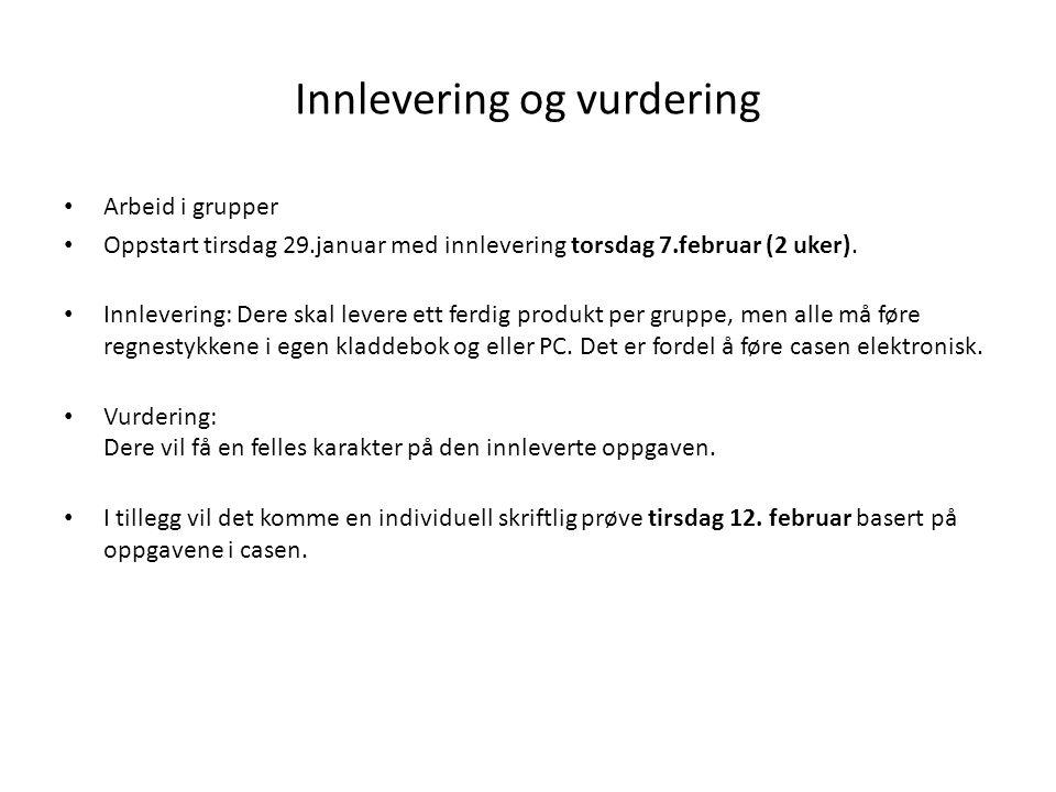Innlevering og vurdering Arbeid i grupper Oppstart tirsdag 29.januar med innlevering torsdag 7.februar (2 uker).