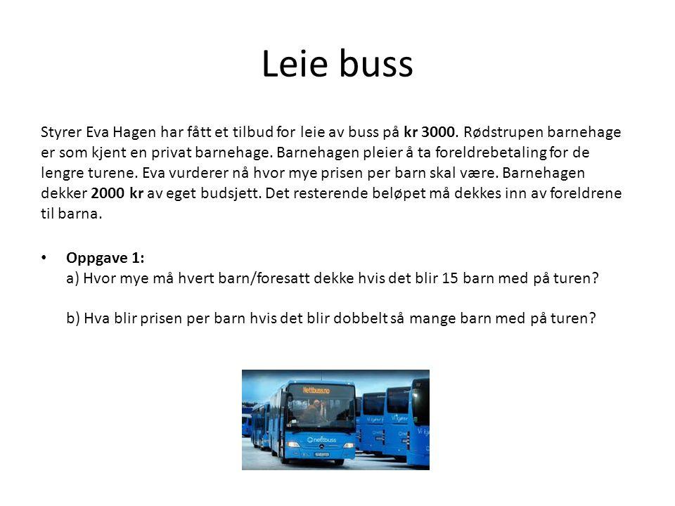 Leie buss Styrer Eva Hagen har fått et tilbud for leie av buss på kr 3000.