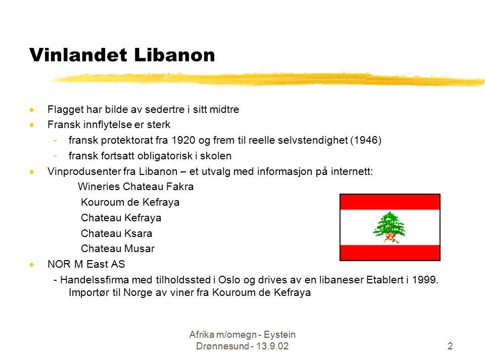 Afrika m/omegn - Eystein Drønnesund - 13.9.022  Flagget har bilde av sedertre i sitt midtre  Fransk innflytelse er sterk -fransk protektorat fra 192