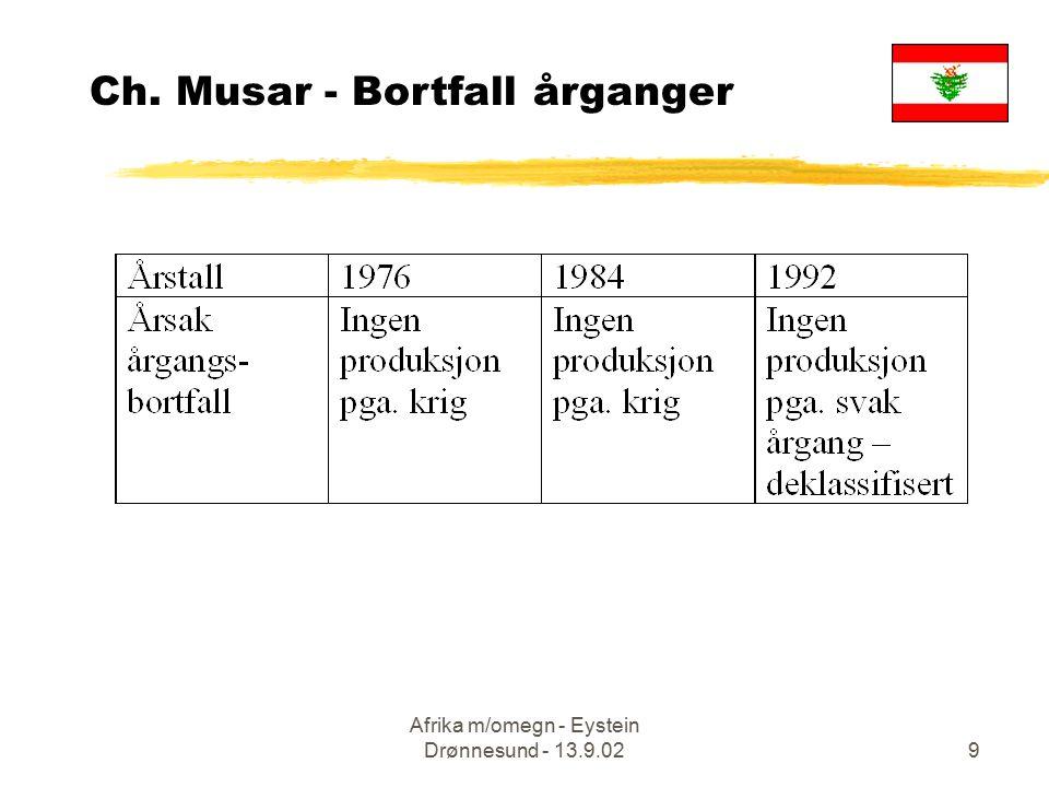 Afrika m/omegn - Eystein Drønnesund - 13.9.029 Ch. Musar - Bortfall årganger