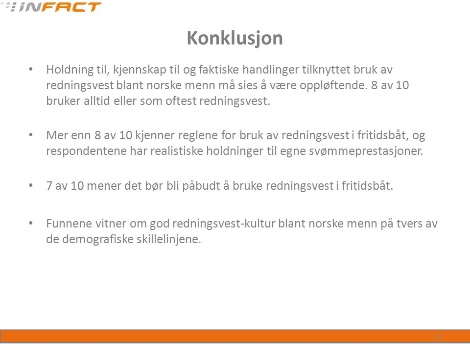 Konklusjon Holdning til, kjennskap til og faktiske handlinger tilknyttet bruk av redningsvest blant norske menn må sies å være oppløftende.