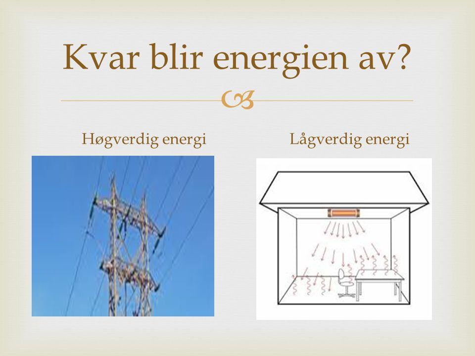  Kvar blir energien av? Høgverdig energiLågverdig energi