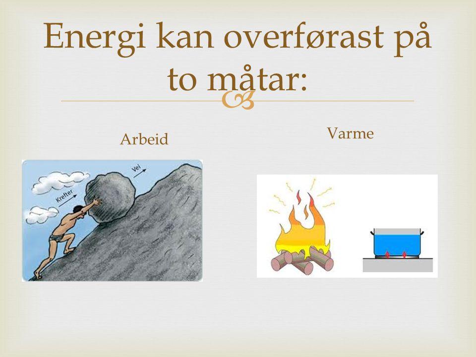  Energi kan overførast på to måtar: Arbeid Varme