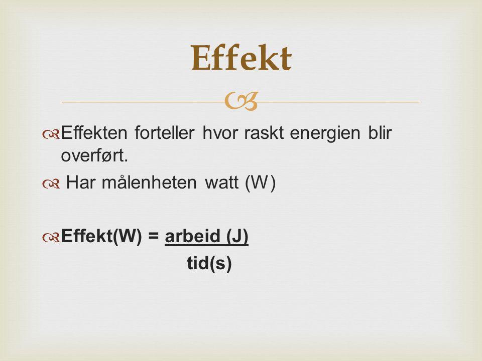   Effekten forteller hvor raskt energien blir overført.  Har målenheten watt (W)  Effekt(W) = arbeid (J) tid(s) Effekt