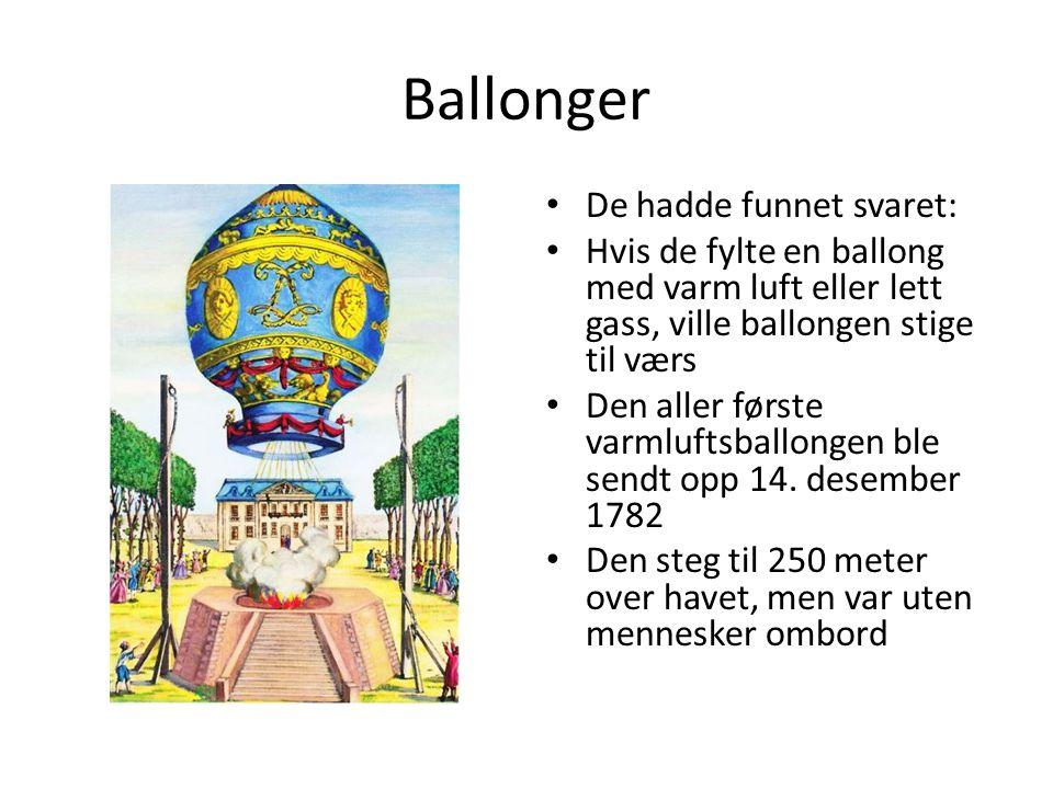 Ballonger De hadde funnet svaret: Hvis de fylte en ballong med varm luft eller lett gass, ville ballongen stige til værs Den aller første varmluftsballongen ble sendt opp 14.