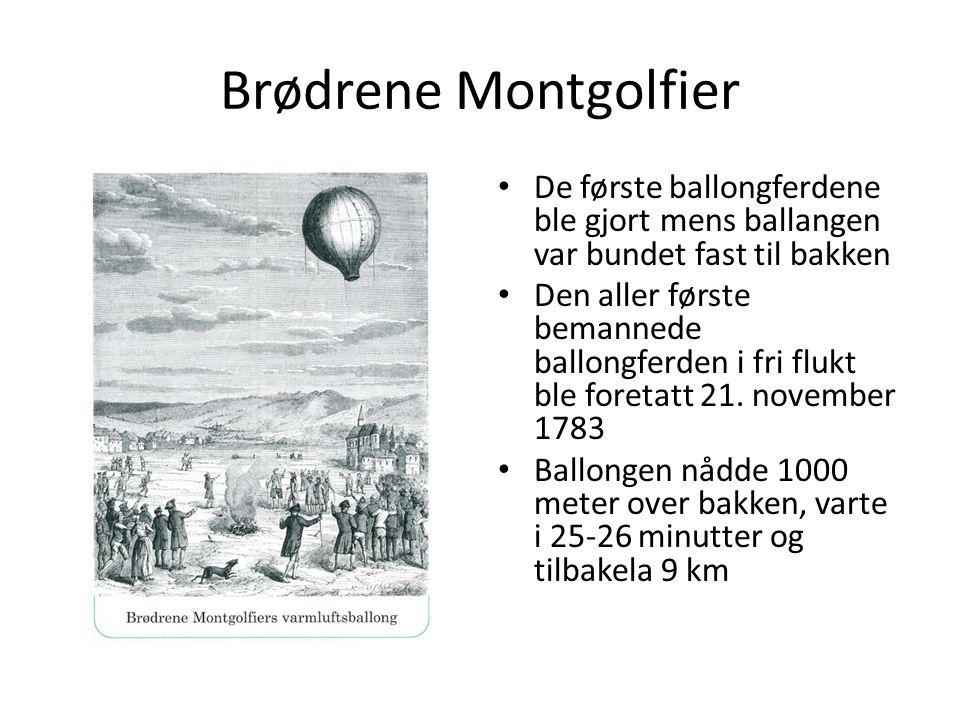 Brødrene Montgolfier De første ballongferdene ble gjort mens ballangen var bundet fast til bakken Den aller første bemannede ballongferden i fri flukt ble foretatt 21.