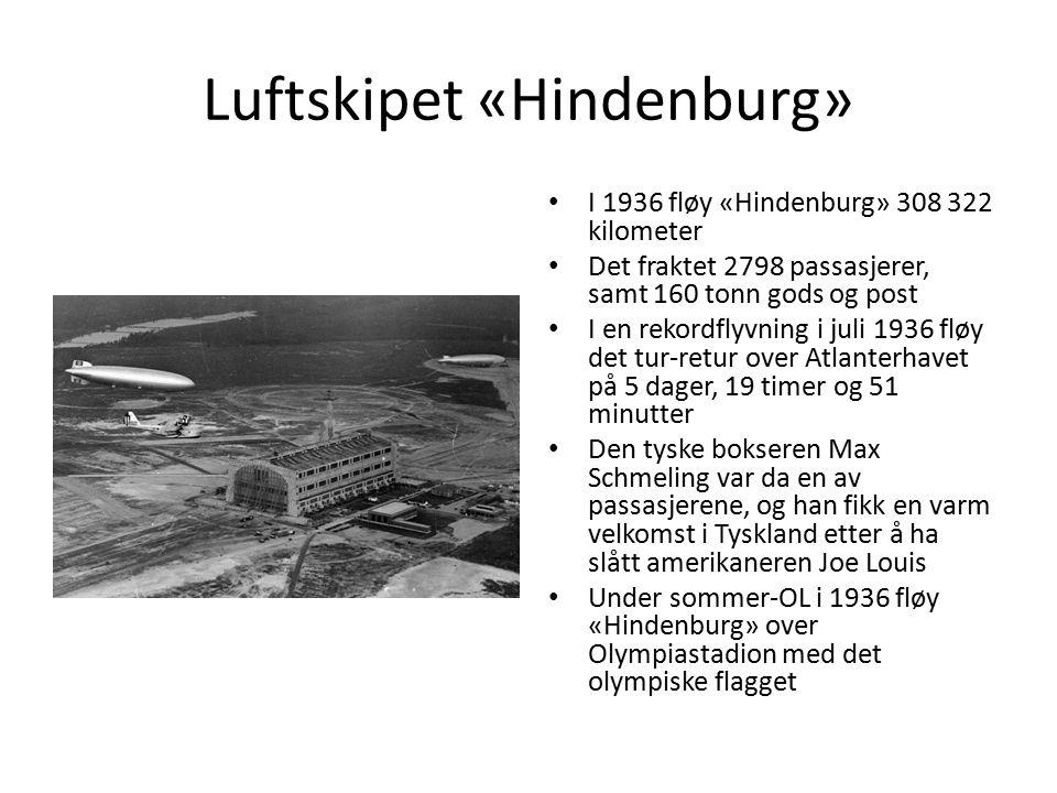 Luftskipet «Hindenburg» I 1936 fløy «Hindenburg» 308 322 kilometer Det fraktet 2798 passasjerer, samt 160 tonn gods og post I en rekordflyvning i juli 1936 fløy det tur-retur over Atlanterhavet på 5 dager, 19 timer og 51 minutter Den tyske bokseren Max Schmeling var da en av passasjerene, og han fikk en varm velkomst i Tyskland etter å ha slått amerikaneren Joe Louis Under sommer-OL i 1936 fløy «Hindenburg» over Olympiastadion med det olympiske flagget