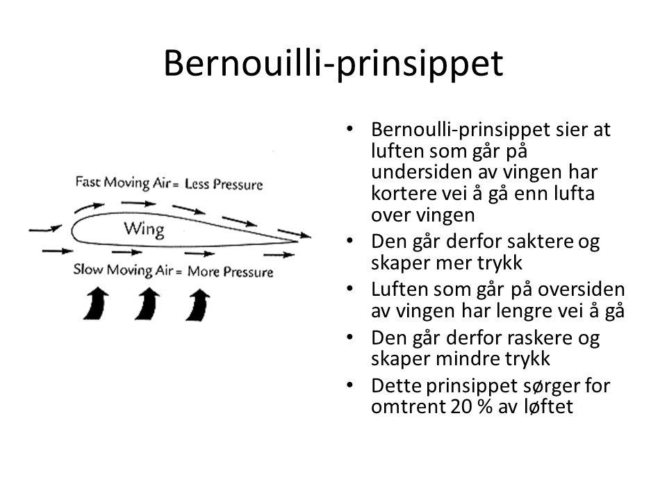 Bernouilli-prinsippet Bernoulli-prinsippet sier at luften som går på undersiden av vingen har kortere vei å gå enn lufta over vingen Den går derfor saktere og skaper mer trykk Luften som går på oversiden av vingen har lengre vei å gå Den går derfor raskere og skaper mindre trykk Dette prinsippet sørger for omtrent 20 % av løftet
