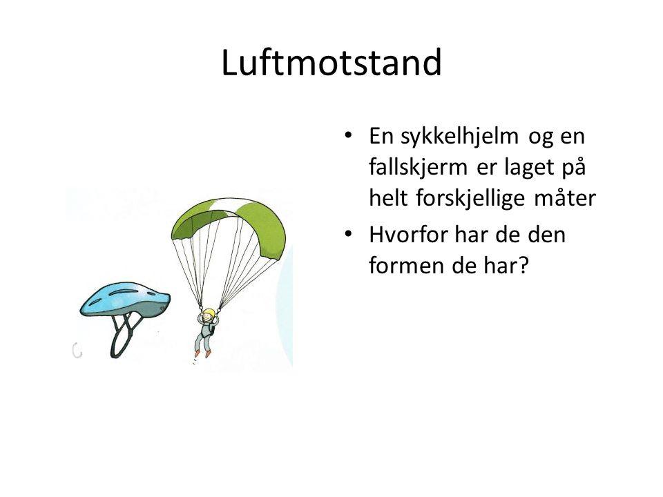 Luftmotstand En sykkelhjelm og en fallskjerm er laget på helt forskjellige måter Hvorfor har de den formen de har?