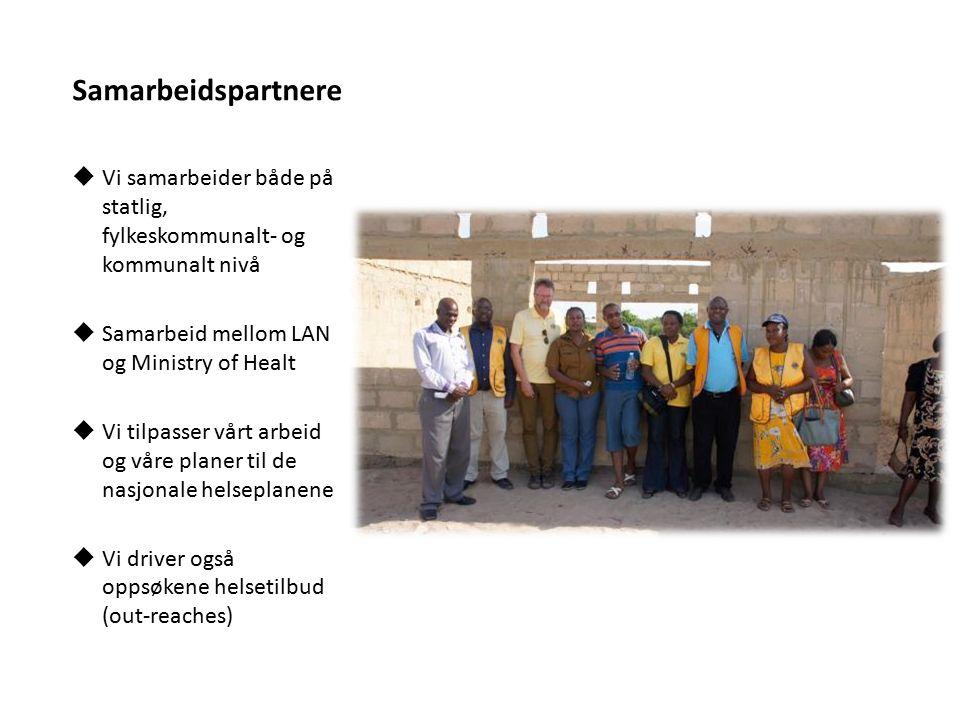 Samarbeidspartnere  Vi samarbeider både på statlig, fylkeskommunalt- og kommunalt nivå  Samarbeid mellom LAN og Ministry of Healt  Vi tilpasser vår