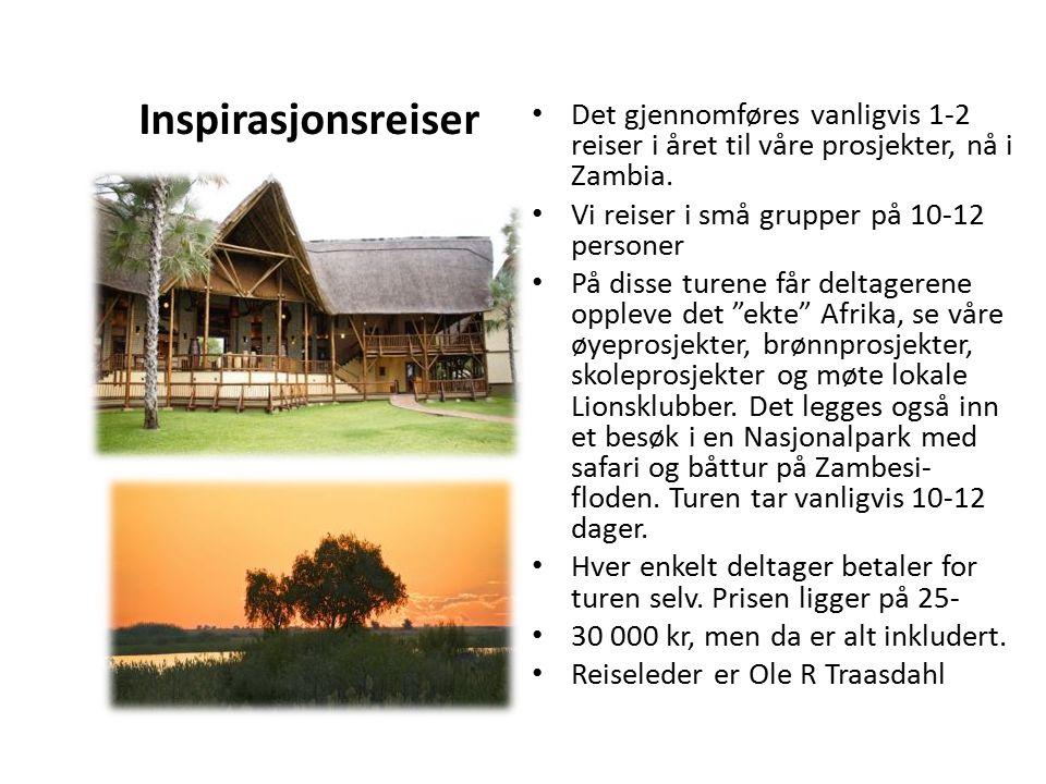Inspirasjonsreiser Det gjennomføres vanligvis 1-2 reiser i året til våre prosjekter, nå i Zambia. Vi reiser i små grupper på 10-12 personer På disse t