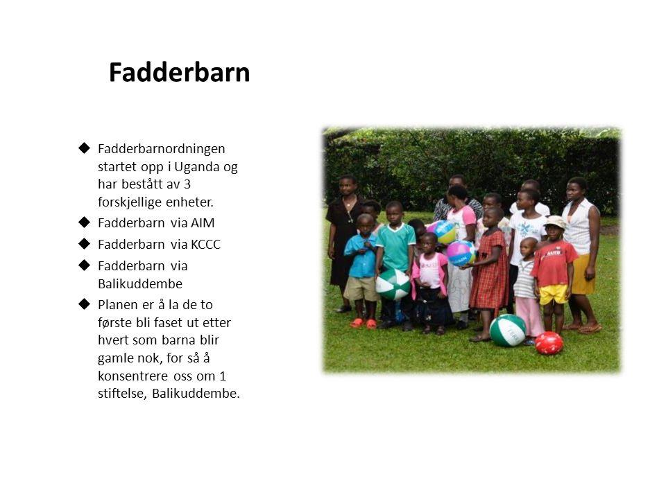 Fadderbarn  Fadderbarnordningen startet opp i Uganda og har bestått av 3 forskjellige enheter.  Fadderbarn via AIM  Fadderbarn via KCCC  Fadderbar