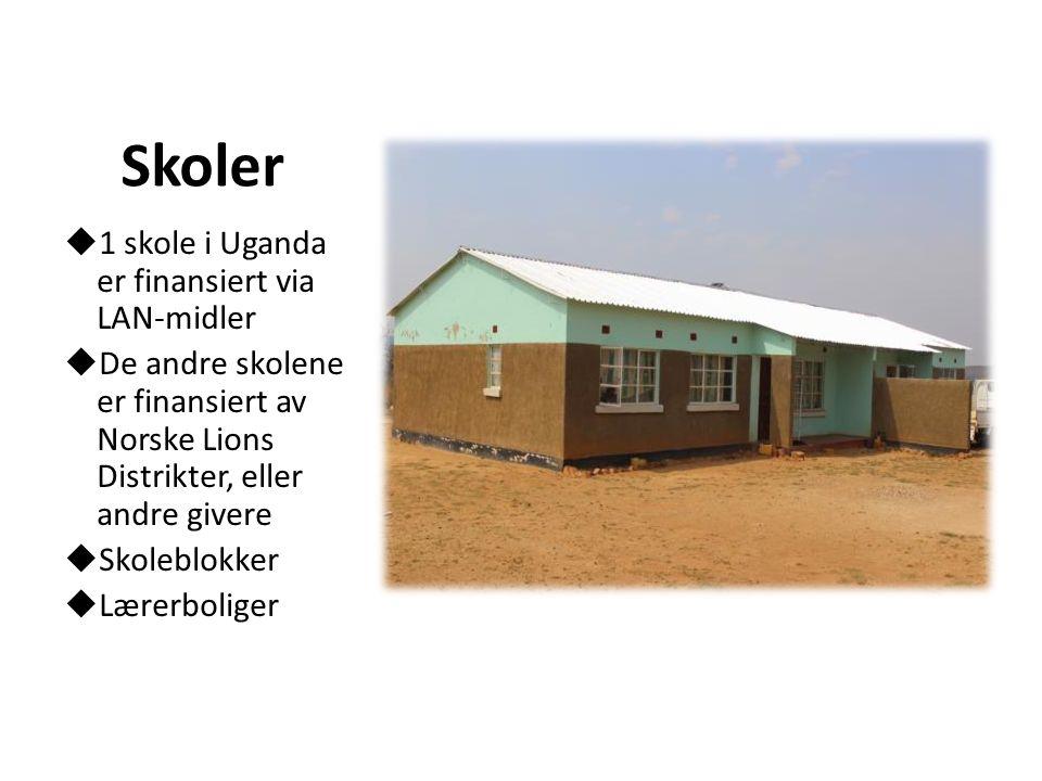 Skoler  1 skole i Uganda er finansiert via LAN-midler  De andre skolene er finansiert av Norske Lions Distrikter, eller andre givere  Skoleblokker  Lærerboliger