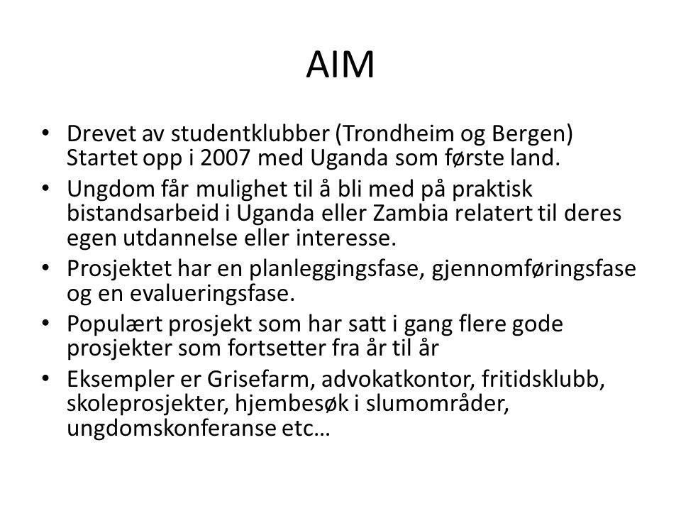 AIM Drevet av studentklubber (Trondheim og Bergen) Startet opp i 2007 med Uganda som første land. Ungdom får mulighet til å bli med på praktisk bistan